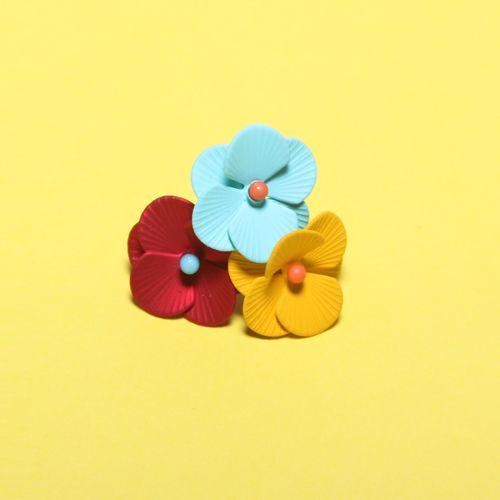 Metal Pastel Color Flower Earrings Sale on now @5ivesense.com