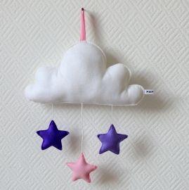 Wolk muziekmobiel Roze-Lila-Paars | It's raining stars | PIEP KIDS hip accessoires