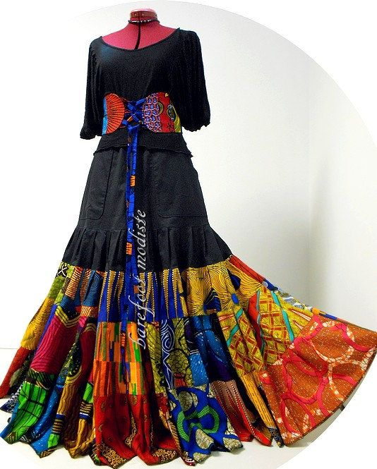 Hadiyah Unique African Patchwork Skirt Long by BarefootModiste