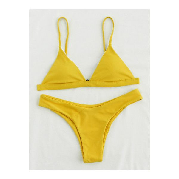 Triangle High Leg Bikini Set ($8.89) ❤ liked on Polyvore featuring swimwear, bikinis, yellow, triangle swimwear, yellow swimwear, yellow triangle bikini, yellow bikini and bikini two piece