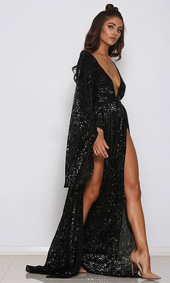 8c759e71 Speak Your Mind Black Sequin Long Bell Sleeve Plunge V Neck Double Slit  Maxi Dress