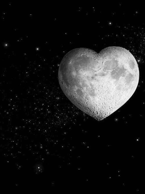 Heart shaped moon in starry sky  #wallpaper