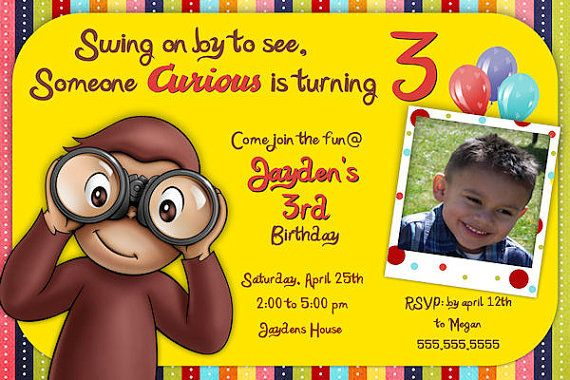 Curious George / monkey Birthday Invitation - Printable