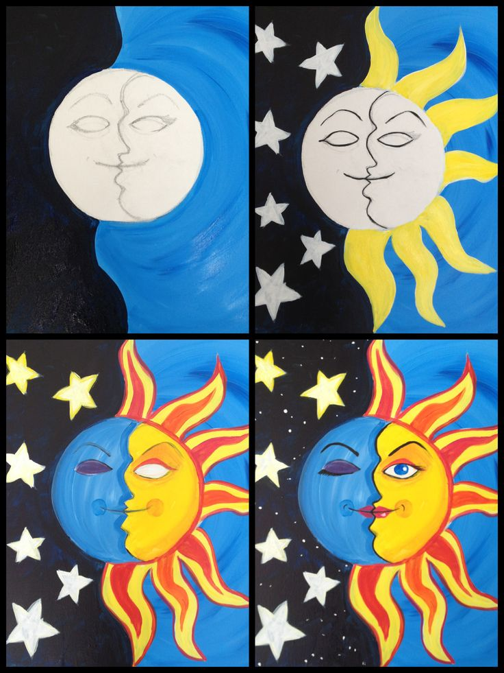 """Cool night and day painting Evolution of """"Space Case""""  Painting with a Twist"""