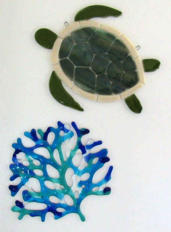 Fused Gl Sea Turtle Honu Ocean Beach Wall Art Hawaiian Green Bathroom Decor Pinterest And