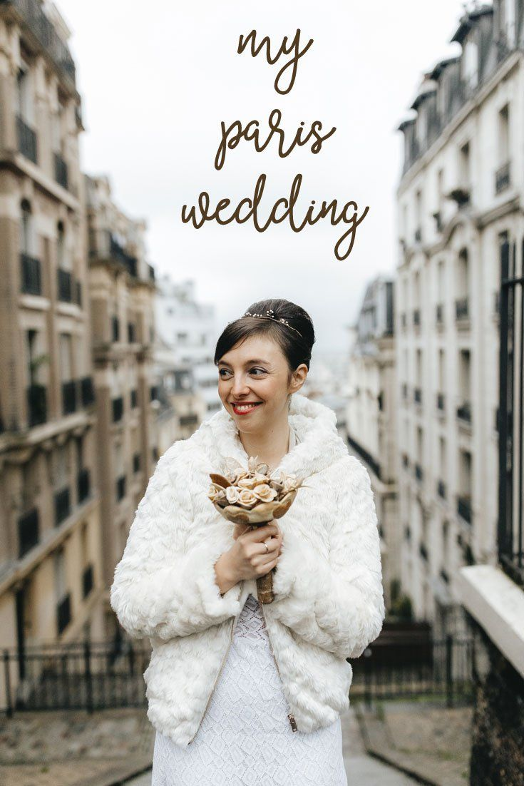 Stories and photos from a small Paris wedding. Montmartre views, ethical wedding dress, vintage jewellery, and a bouquet of bread roses!