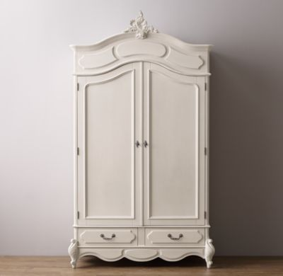 RH Baby & Child's Marielle Armoire with Wood Doors:Designed to mix and match with other furnishings for an eclectic look, our armoire highlights the artistry of vintage furniture, and is an exacting reproduction of an antique.