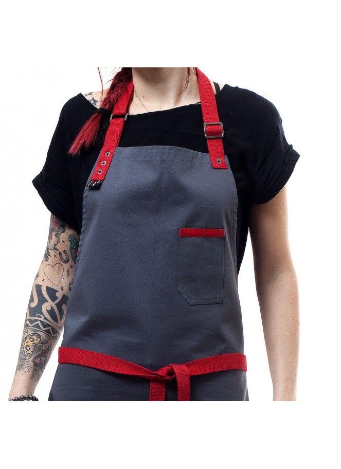 Tablier de cuisine gris et rouge. Bartender apron |Chef apron | barista apron| grey apron| Hipster apron | restaurant apron |jook company