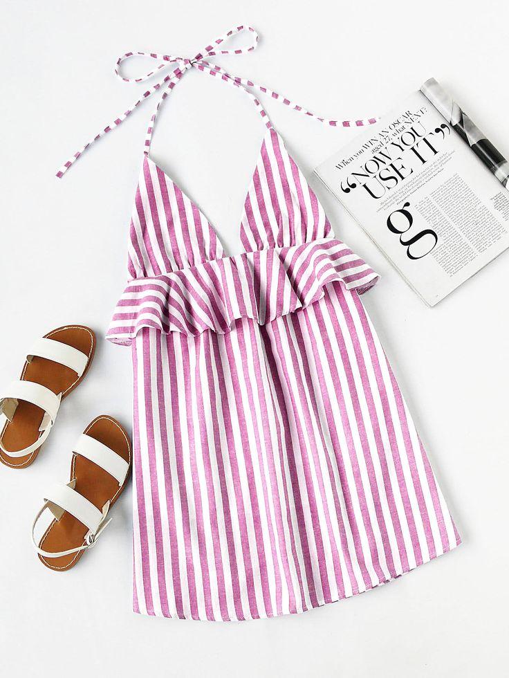 Pink Vertical Stripe Halter Neck Plunge Frill Trim Mini Dress