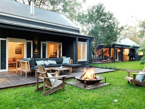 Beautiful garden, lawn and fire pit at a perfect holiday home.  weatherboard | Tumblr