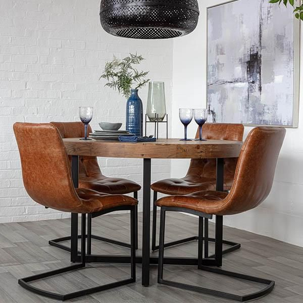Standford Round Reclaimed Wood Dining Table In 2020 Round Wood
