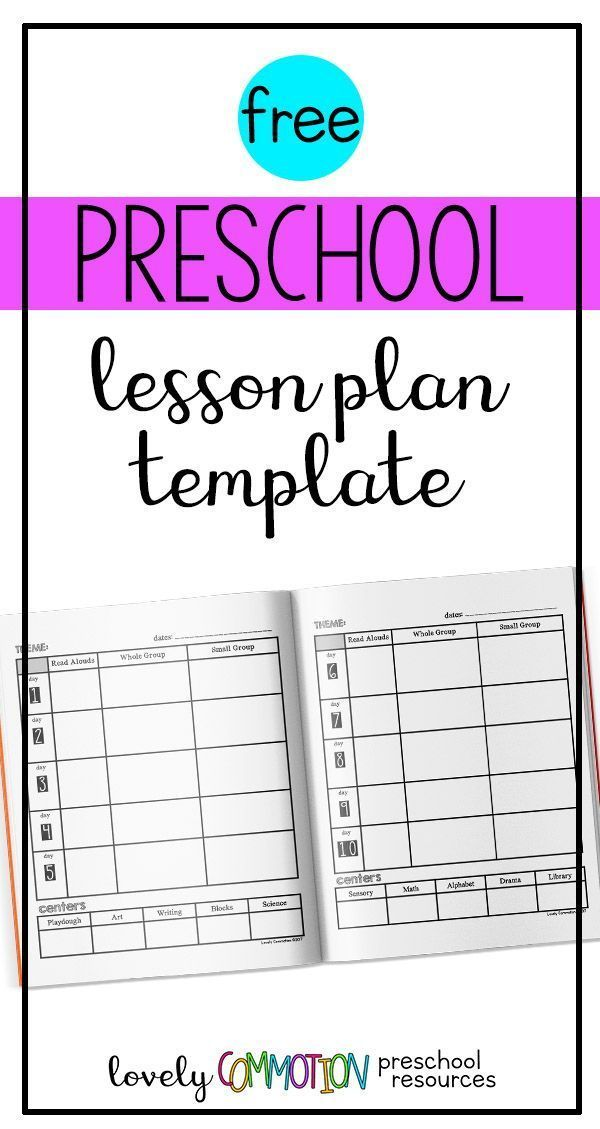 Easy (and free) Preschool Lesson Plan Template Teacher Tips