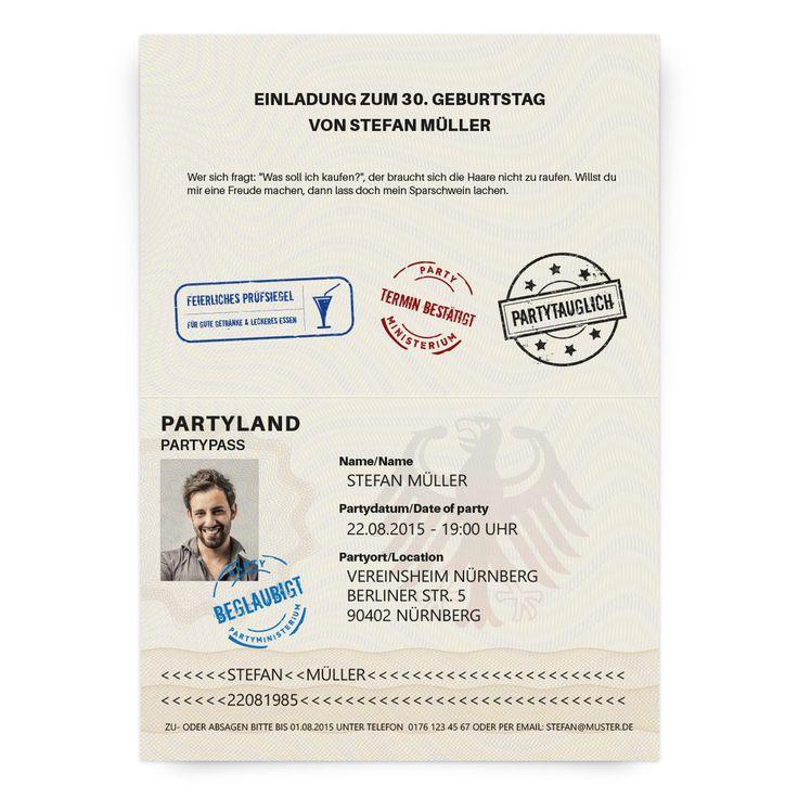 die etwas anderen einladungskarten im reisepass design als klappkarte mit eigenem foto text. Black Bedroom Furniture Sets. Home Design Ideas