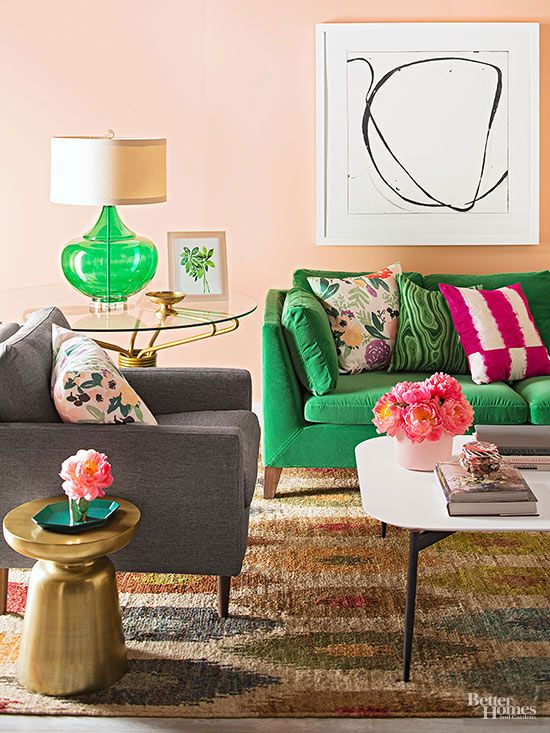pink walls, green sofa, great patterns and textures @bhg