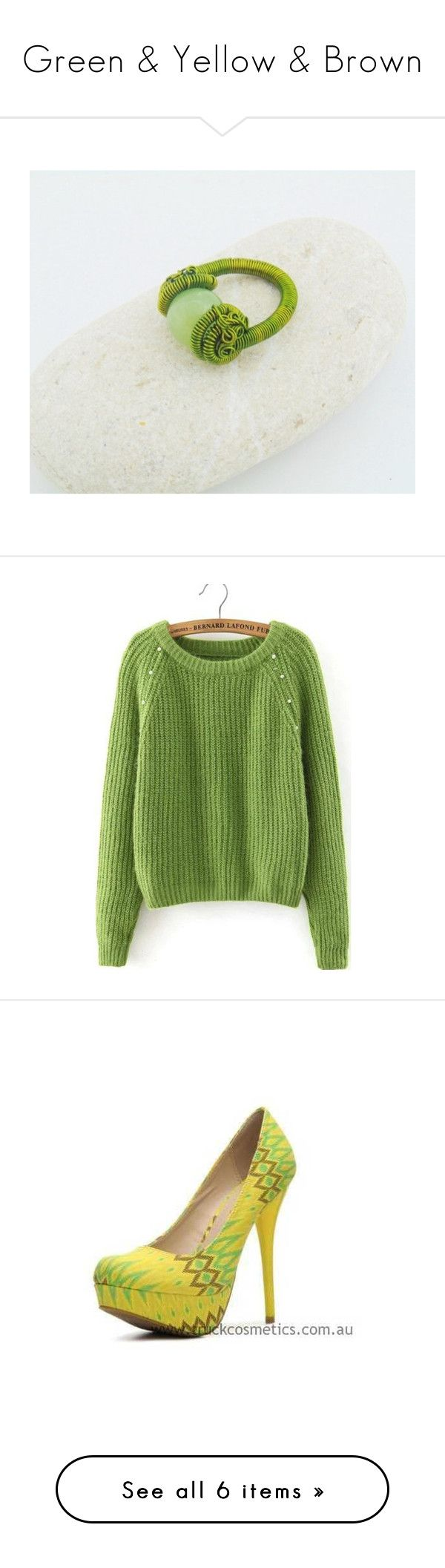 """Green & Yellow & Brown"" by styledonna on Polyvore featuring jewelry, rings, tops, sweaters, shirts, green, long sleeve tops, long sleeve pullover sweater, embellished sweater i long sleeve sweaters"