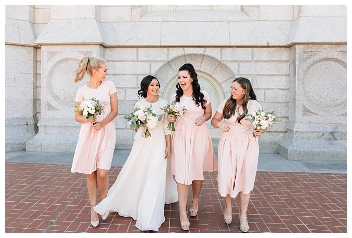 bride with bridesmaids in light pink at the Salt Lake Temple | LDS Bride Blog | Blush & Navy | fall | September | Salt Lake Temple | Mormon | lace | Wadley Farms | Utah