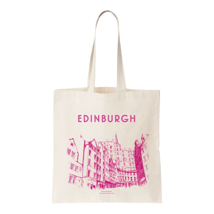 Everyone needs a tote bag so why not show off the beautiful city of Edinburgh with my 'Victoria Street' drawing in pink by shopLAYOUTLINES on Etsy