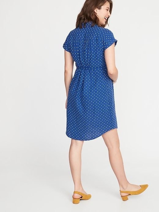 4d084788a28 Maternity Linen-Blend Polka-Dot Tie-Belt Shirt Dress in 2019 ...