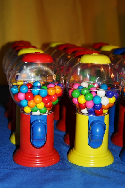 Going to have these as center peices with Red, Blue & Yellow balloons tied for the tables