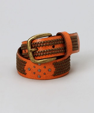 mini C-RED orange studded belt
