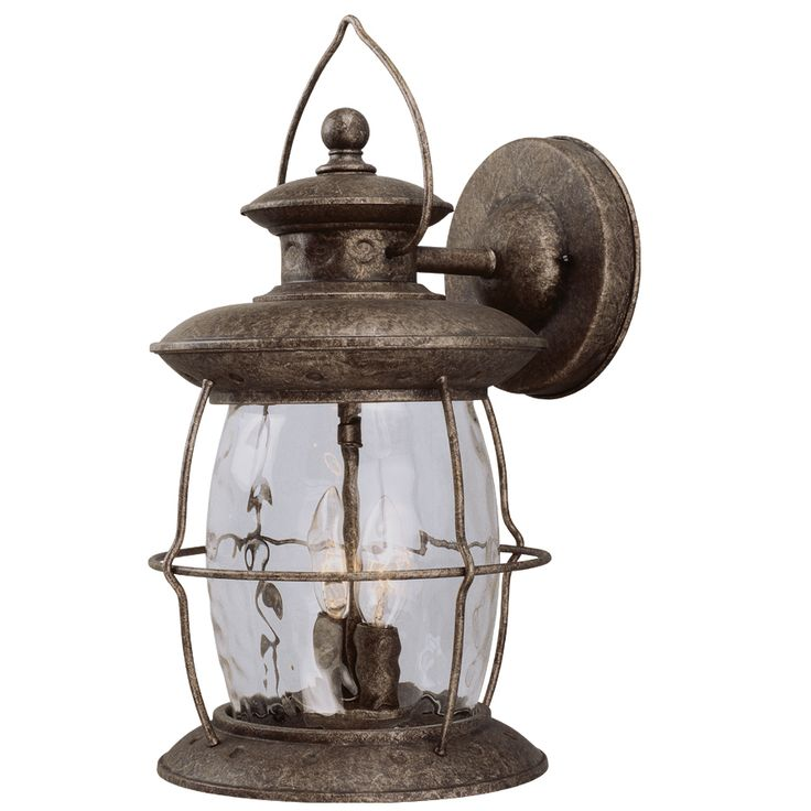 Shop Portfolio 16-7/8-in Antique Pewter Outdoor Wall Light