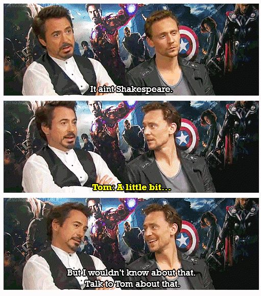 """#TomHiddleston and #Robert Downey Jr. & 