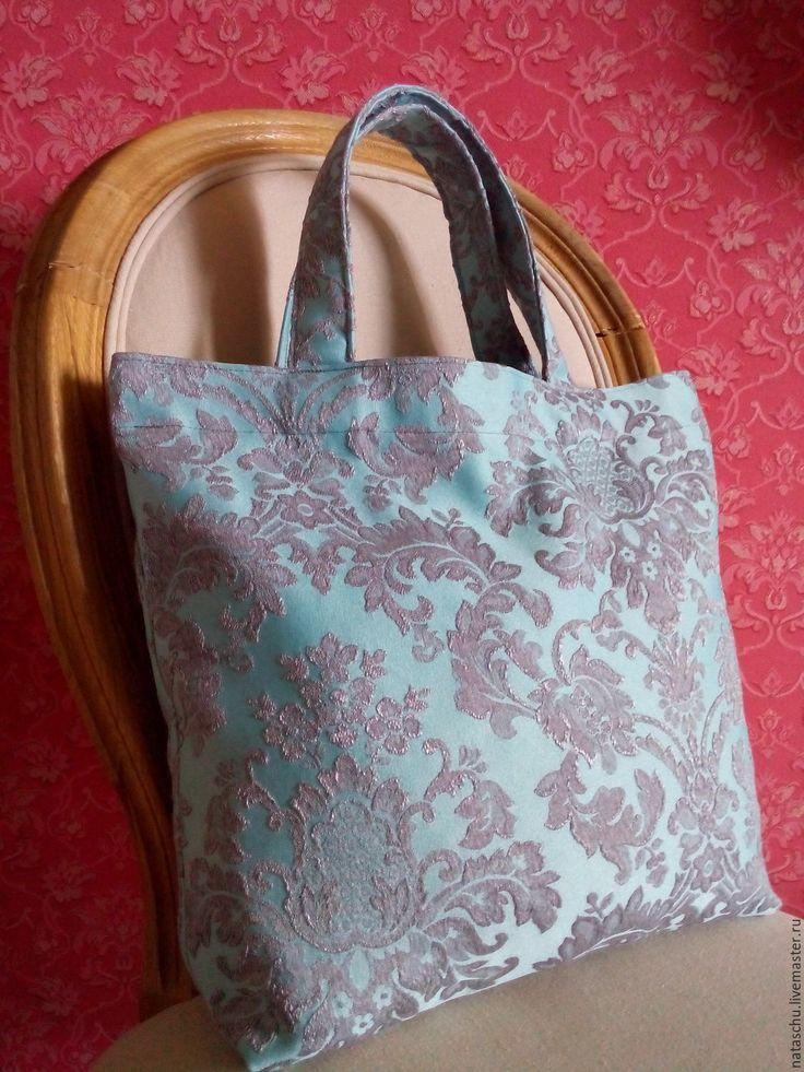 Купить Мини-авоська «Голубая классика» - орнамент, стильная сумка, сумка текстиль, сумка текстильная