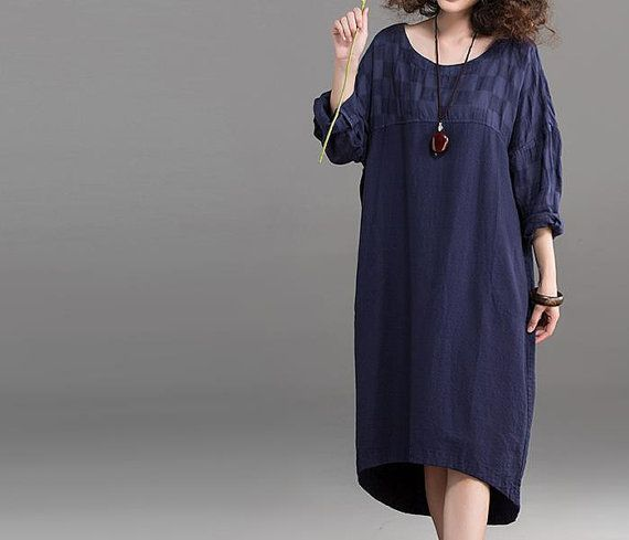 blue maxi dress/ large size Oversize dress/ linen robe