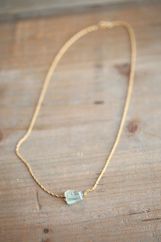 Faceted Aquamarine Necklace Aquamarine Crystal by AmuletteJewelry