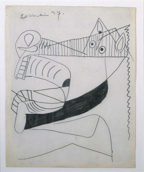 Cabeza de caballo (I). Dibujo preparatorio para «Guernica»