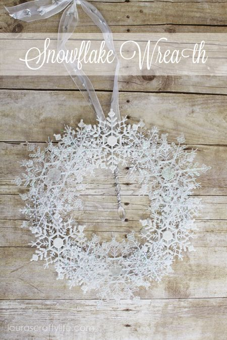 Adorable snowflake wreath made from Dollar store items!