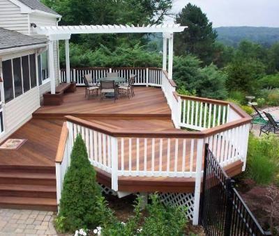 beautiful multi level ipe deck with pergola - Multi Level Patio Designs