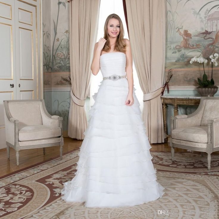 New Stock Backless A-Line Wedding Dress 2016 Vestido De Noiva Beading Sashes Ruffles Pleat Button Organza Tulle Bridal Gowns A-Line Wedding Dress 2016 Bridal Gowns Custom Made Dress Online with $197.67/Piece on Yahuifang2016's Store | DHgate.com
