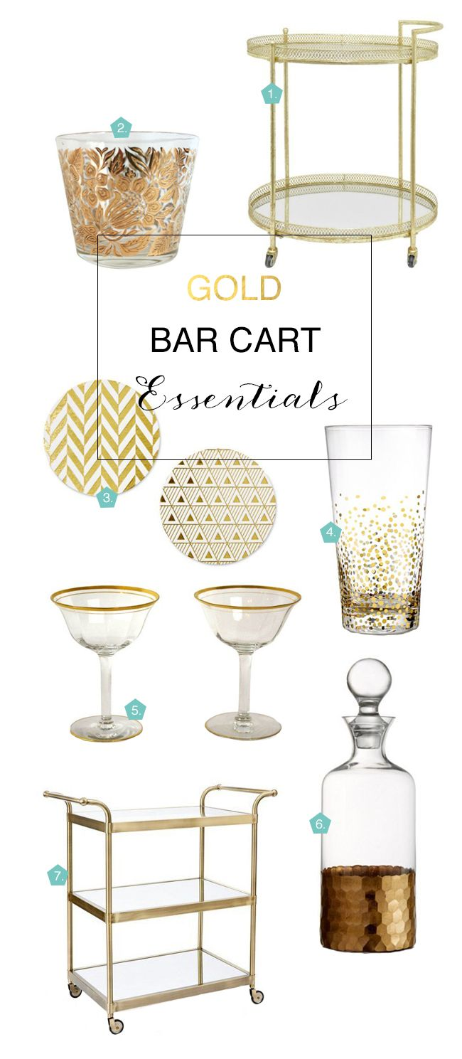 How to Decorate the Perfect Gold Bar Cart | Coastal Bride