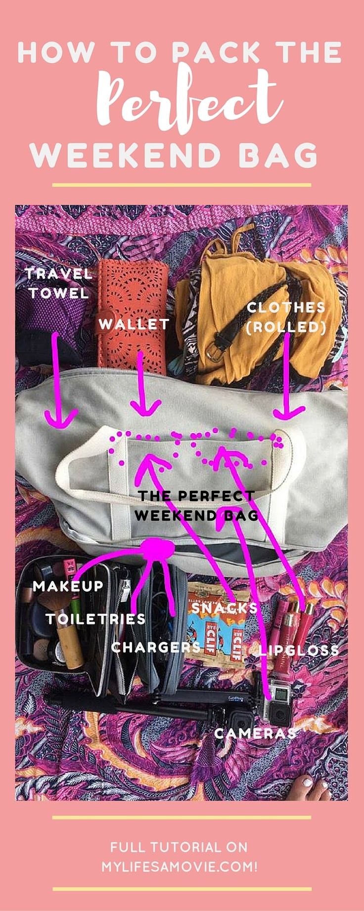 How to Pack the Perfect Weekend Travel Bag! Organization, minimizing, and essentials are key!