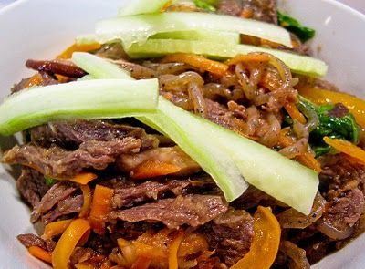 Japchae-Bap with Bulgogi   The Spiced Life  (Korean sweet potato starch noodles with marinated beef--DELICIOUS!!!!)