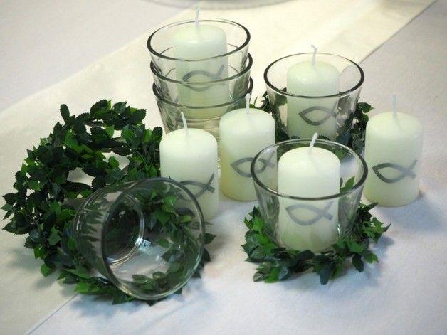 Dekoration - 6x Set: Kerze Votivglas Kerzenring Silber Fisch Ko - ein Designerstück von zauberdeko bei DaWanda