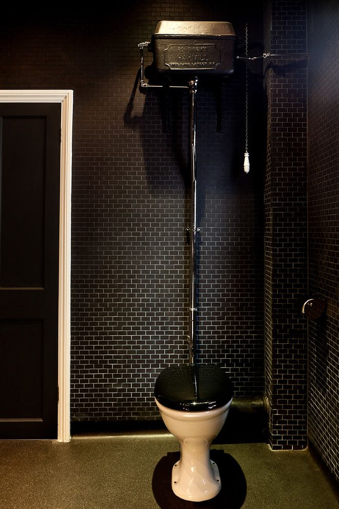 Pull Chain Toilet Bathroom Modern with Black Mosaic Tiles Victorian
