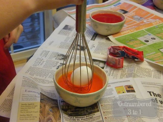 Time to Color the Eggs!  Use a whisk. Great idea!