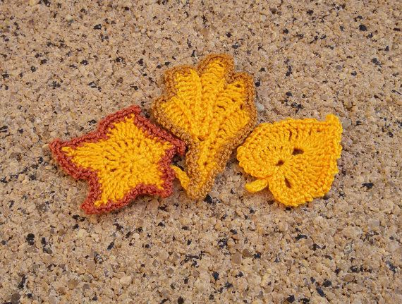 3 leaf embellishments yellow crochet leafs leafs by Rocreanique on Etsy