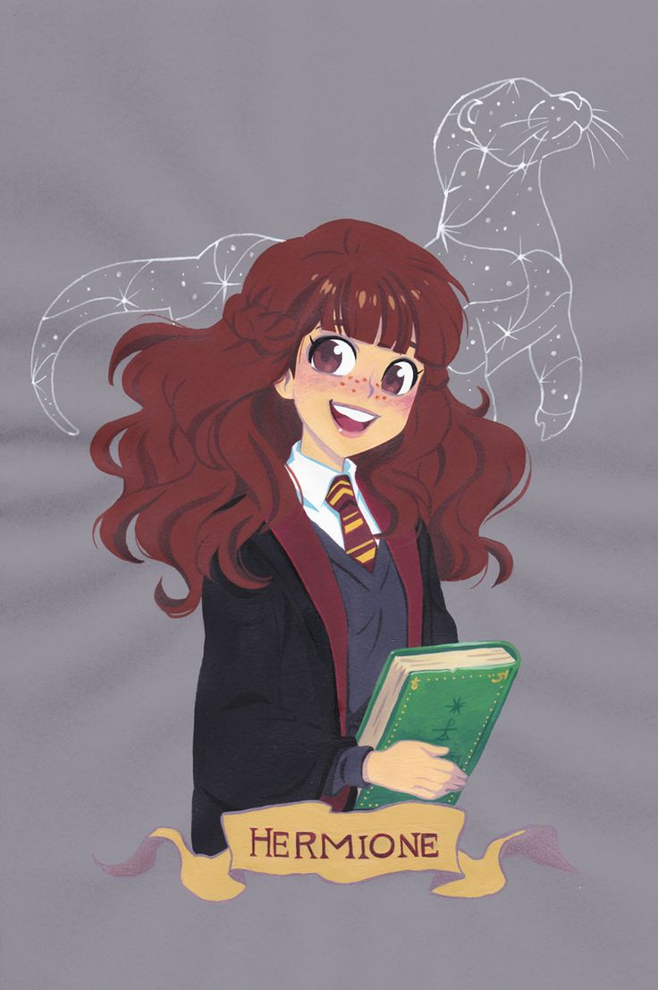 Hermione Granger -- Gouache painting on colored paper