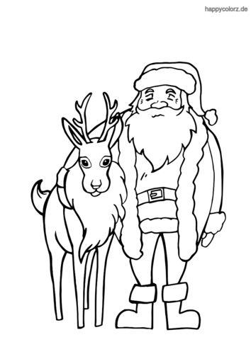 Rentier mit Weihnachtsmann Ausmalbild ...
