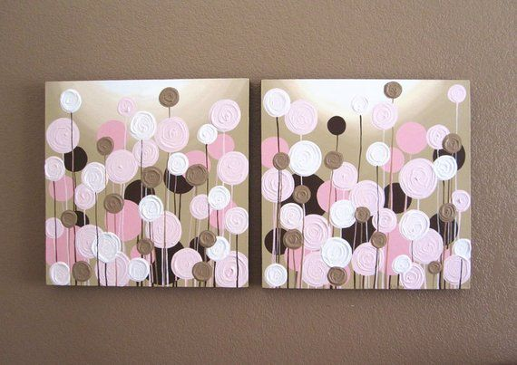Pink and Brown Nursery Art, Textured Flowers, Set of two 20×20″ Acrylic Paintings on Canvas