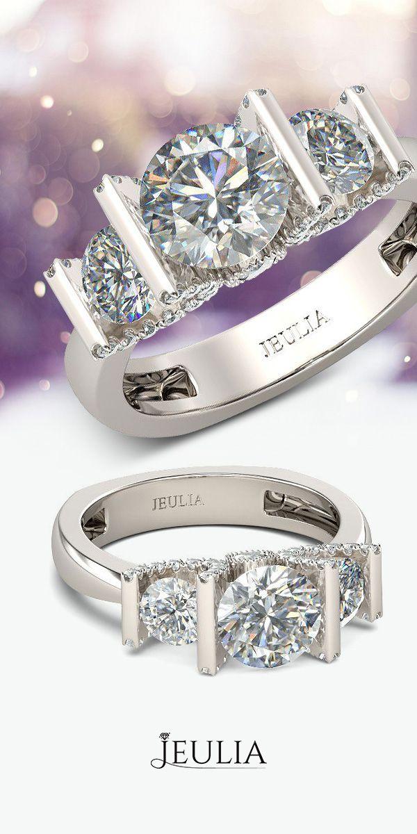Three-stone Design Round Cut Created White Sapphire Rhodium Plated Sterling Silver Women's Ring #Jeulia
