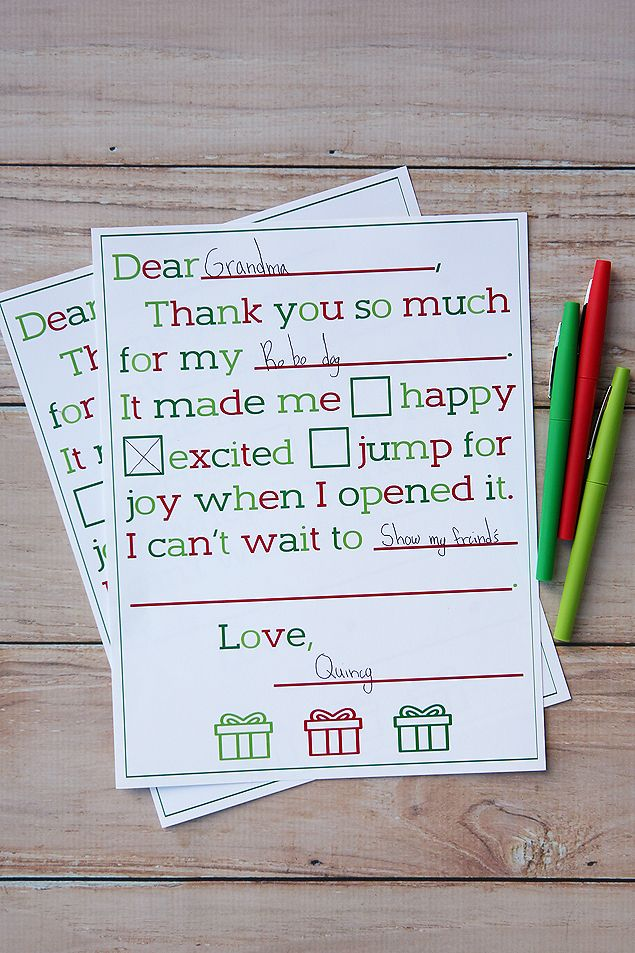 Kids Christmas Thank You Letter. A sweet and simple way for kids to say thank you for their Christmas presents.