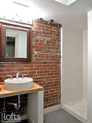 Boston Lofts By LoftsBoston.com, Inc. U003eu003e Boston Residential Loft Rental U003e · Brick  BathroomIn ...
