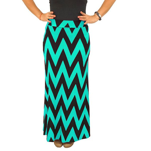 Fold over Waist Full Length Black Mint Chevron Maxi Skirt ($40) ❤ liked on Polyvore featuring skirts, black, stretch skirts, fold over maxi skirt, long skirts, mint green skirt and patterned skirts