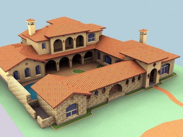 Spanish style homes with courtyards spanish hacienda for Custom mediterranean homes