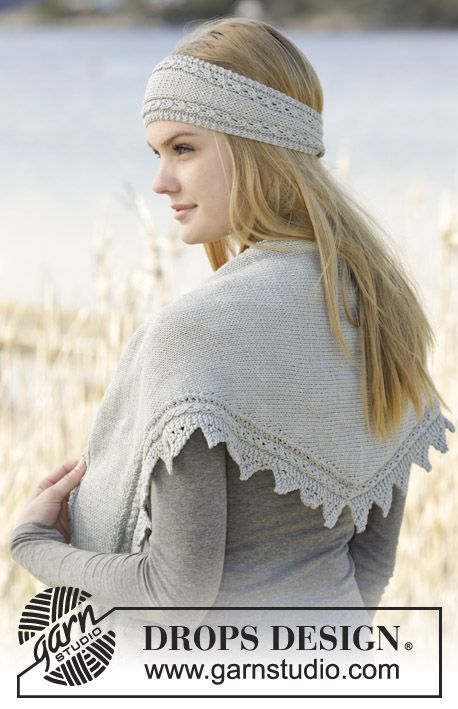 "Just Glisten - Set consists of: Knitted DROPS shawl and head band in garter st with small cables and lace pattern in ""Cotton Merino"". - Free pattern by DROPS Design"