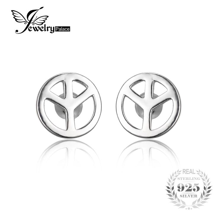 JewelryPalace Cnd Symbol 925 Sterling Silver Stud Earrings Fine Jewelry For Women Brand New Design Fashion Women Earrings Gift